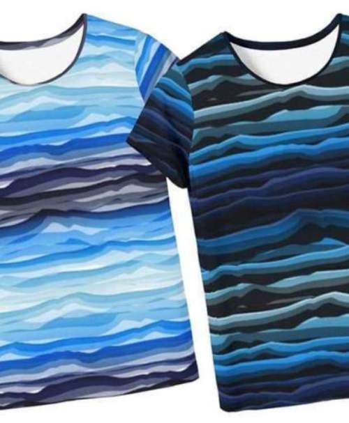 Jersey Wavy Stripes by lycklig design NEU blau/weiß