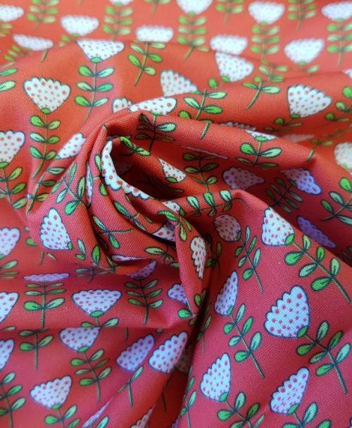 Baumwolle Webware Steinbeck Marienkäfer Blumen rot
