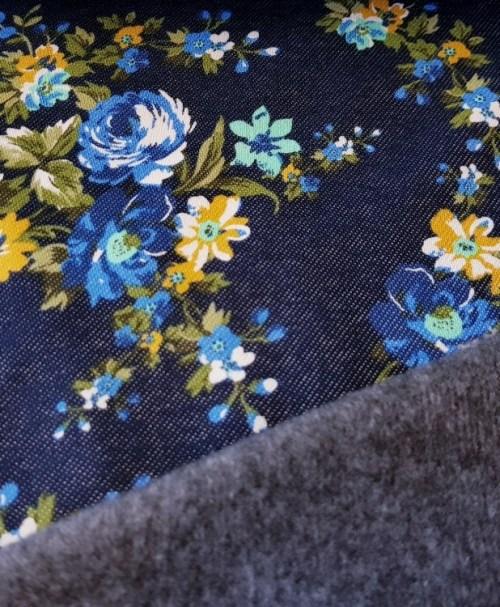 Alpenfleece kleine Blumen Denimlook blau