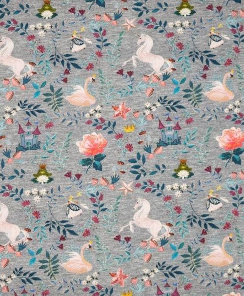 Hilco French Terry Embroidery Swan grau