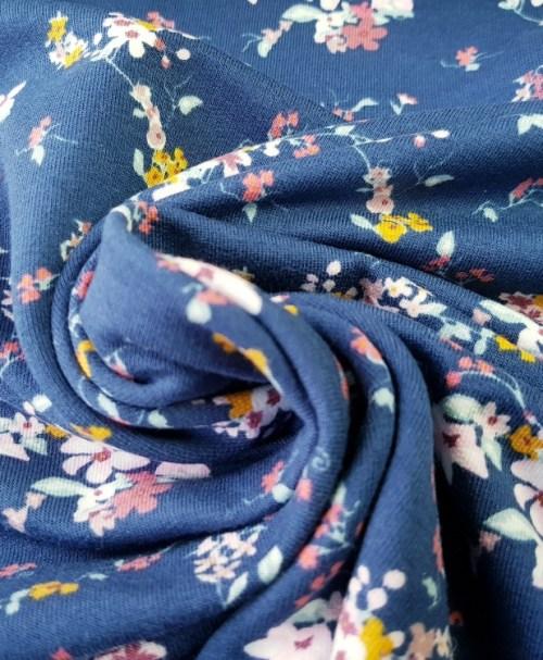 French Terry small Blossom blau