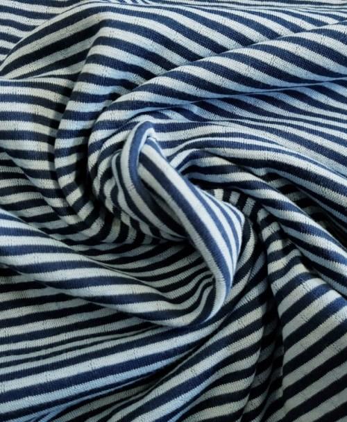 Baumwoll-Jacquard-Strick Doubleface Streifen/Punkte dunkelblau
