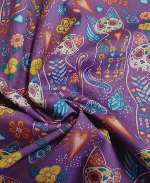 Webware Poplin la Catrina Maskenkätzchen lila