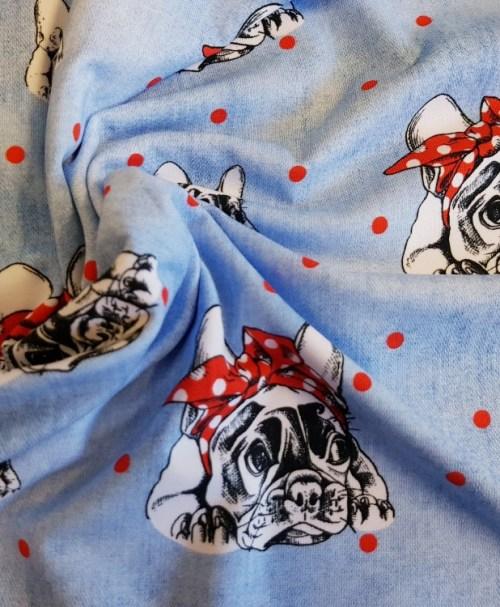 Fräulein von Julie Jersey Bulldogge, Kopftuch, jeansoptik