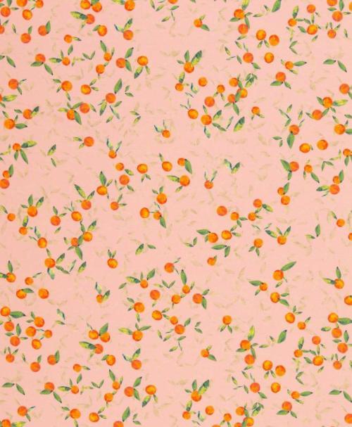 Jersey Linda, Orangen und Blätter, rosa