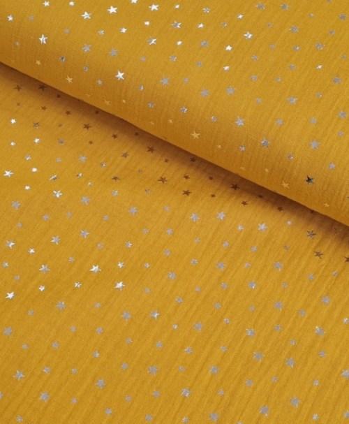 Musselin Folienprint Shiny Stars, ockergelb / silber