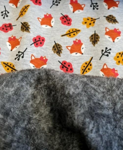 Alpenfleece Fuchs, Blätter, grau-melange