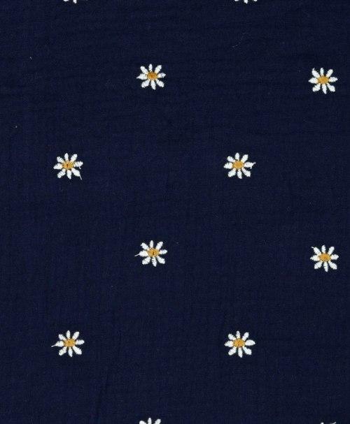 Musselin bestickt, Gänseblümchen, marineblau