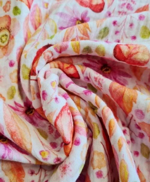 Musselin Blumen und Blätter, pink