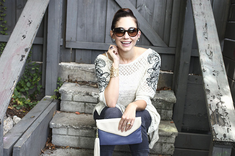 Amy West in Sweater by Anthropologie and booties from Nordstrom