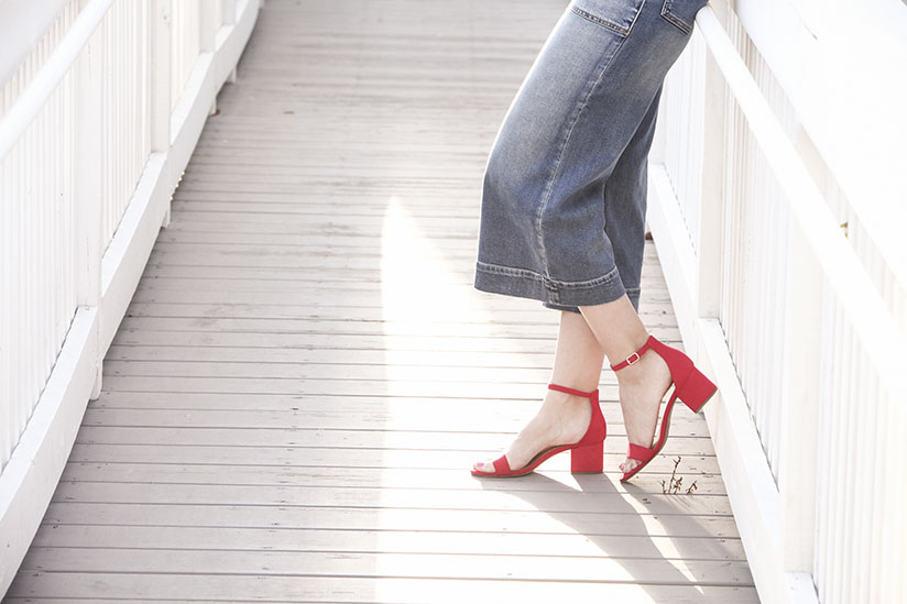 Red block heels from Target