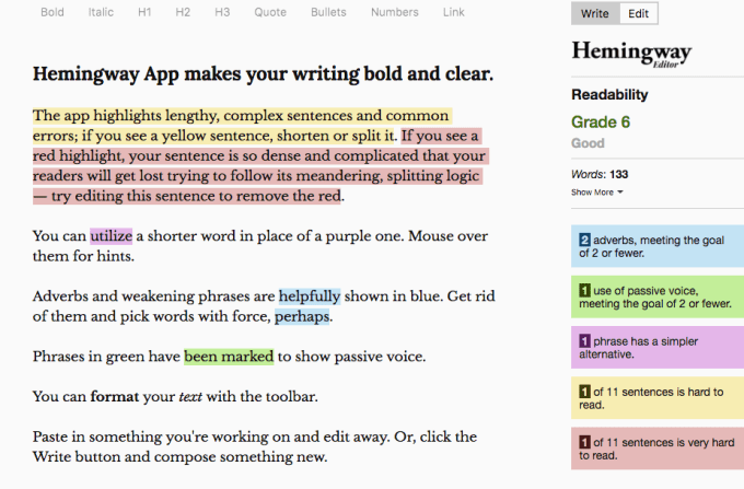 Hemingway Writing App Screenshot