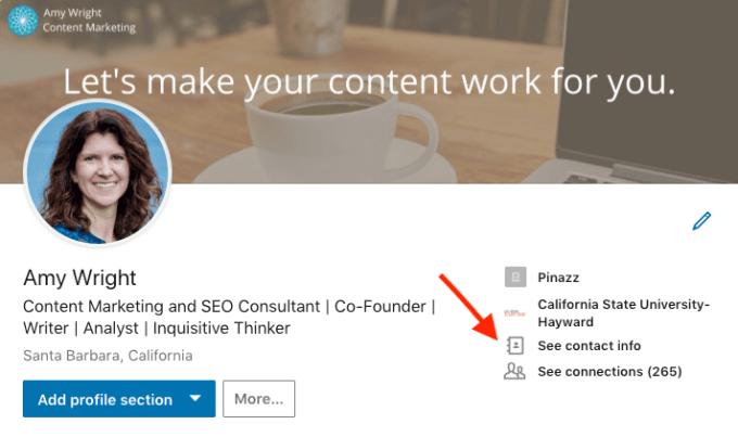 Edit website information on LinkedIn step 1.