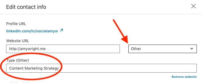 Edit website information on LinkedIn step 3.