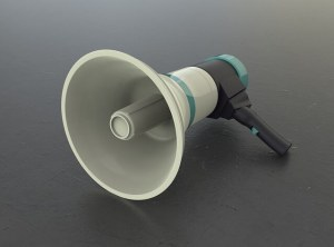 Image of a megaphone to illustrate content promotion tools.