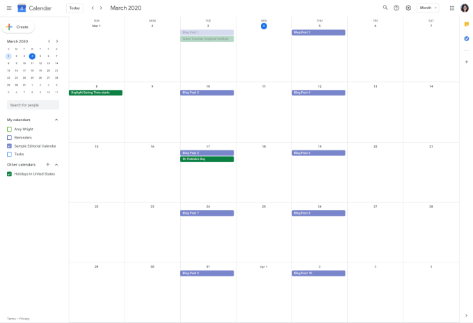 Example of a Google editorial calendar.