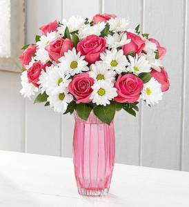 Pink Roses White Daisies 1800Flowers (Cruelty-Free Valentine's Day)