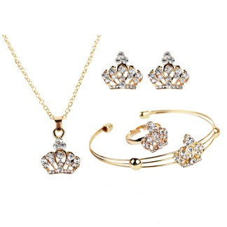 Crystal Crown Gold Necklaces Pendants Earrings Bracelet Women Jewelry Set