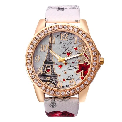 Eiffel Tower Pattern Leather Band Analog Quartz Women Watches