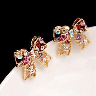 Multi-Color Crystal Golden Bowknot Earrings Women Fashion Jewelry