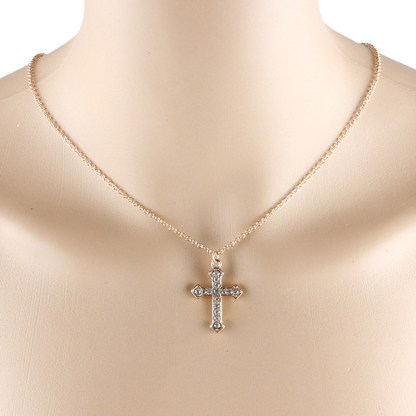 Pretty Cross Crystal Rhinestone Women Pendant Necklace