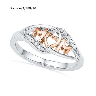 Crystal Mom Heart Ring Women Fashion Jewelry Mother Day Gift