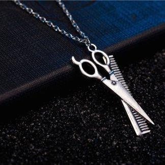 Barber Scissor Comb Design Women Girls Pendant Necklace