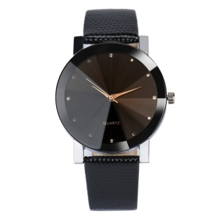 Elegant Round Black PU Leather Movement Quartz Men Wrist Watch