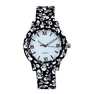Stylish Simulated-Ceramics Skull Flower Printed Quartz Women Wrist Watch