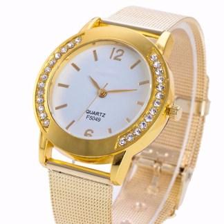 Elegant Rhinestone Golden Stainless Steel Analog Quartz Wrist Watch