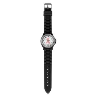Rhinestone Cancer Dial Quartz Analog Silicone Band Women Girls Wrist Watch