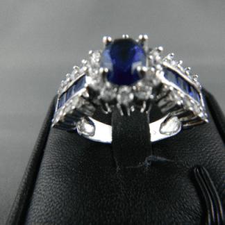 Classic Blue Lab Sapphire Rhinestones Women Ring Fashion Jewelry