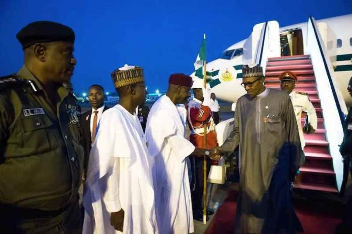 President Muhammadu Buhari on Saturday returned to Nigeria from Chad after participating in a one-day Extraordinary Session of the Conference of Heads of State and Government of the Community of Sahel-Saharan States.