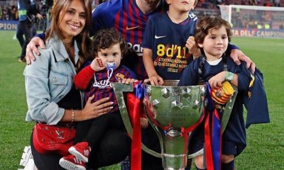 "Lionel Messi has celebrated his winning another La Liga title for Barcelona, posting an Instagram photo with his children and the Cup, with the caption: ""Champions of the league, come on""."