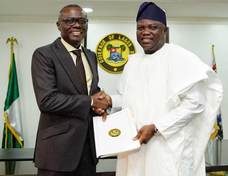 Ambode and Sanwo-Olu handover