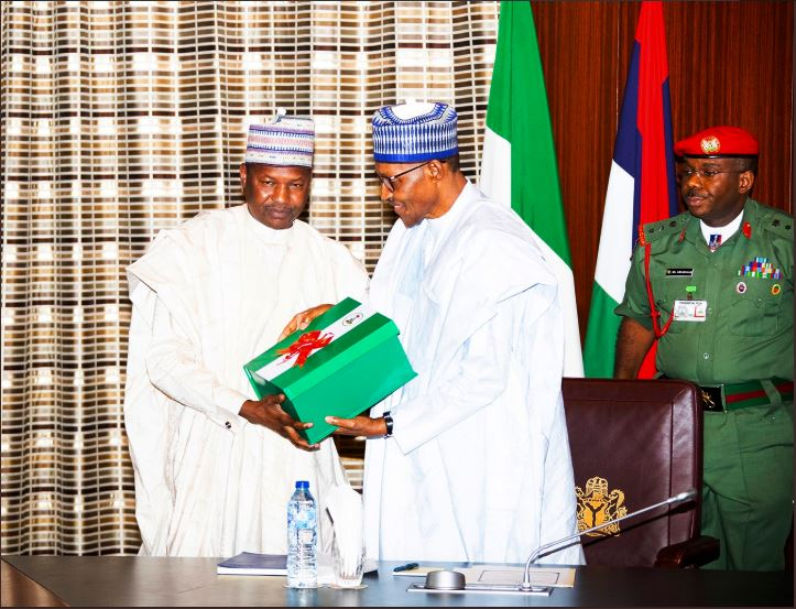 President Muhammadu Buhari has on Tuesday 25th June 2019 received the report of Financial Autonomy for State Legislative and Judiciary from the immediate past Minister of Justice and Attorney General of the Federation, Abubakar Malami, today at the State House, Abuja.