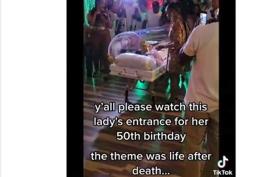 Watch As Woman Arrives Her 50th Birthday Party Inside Transparent Casket