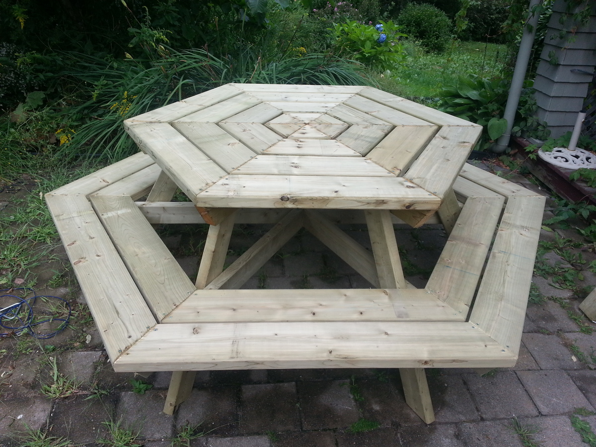 octagon picnic table benches plans diy