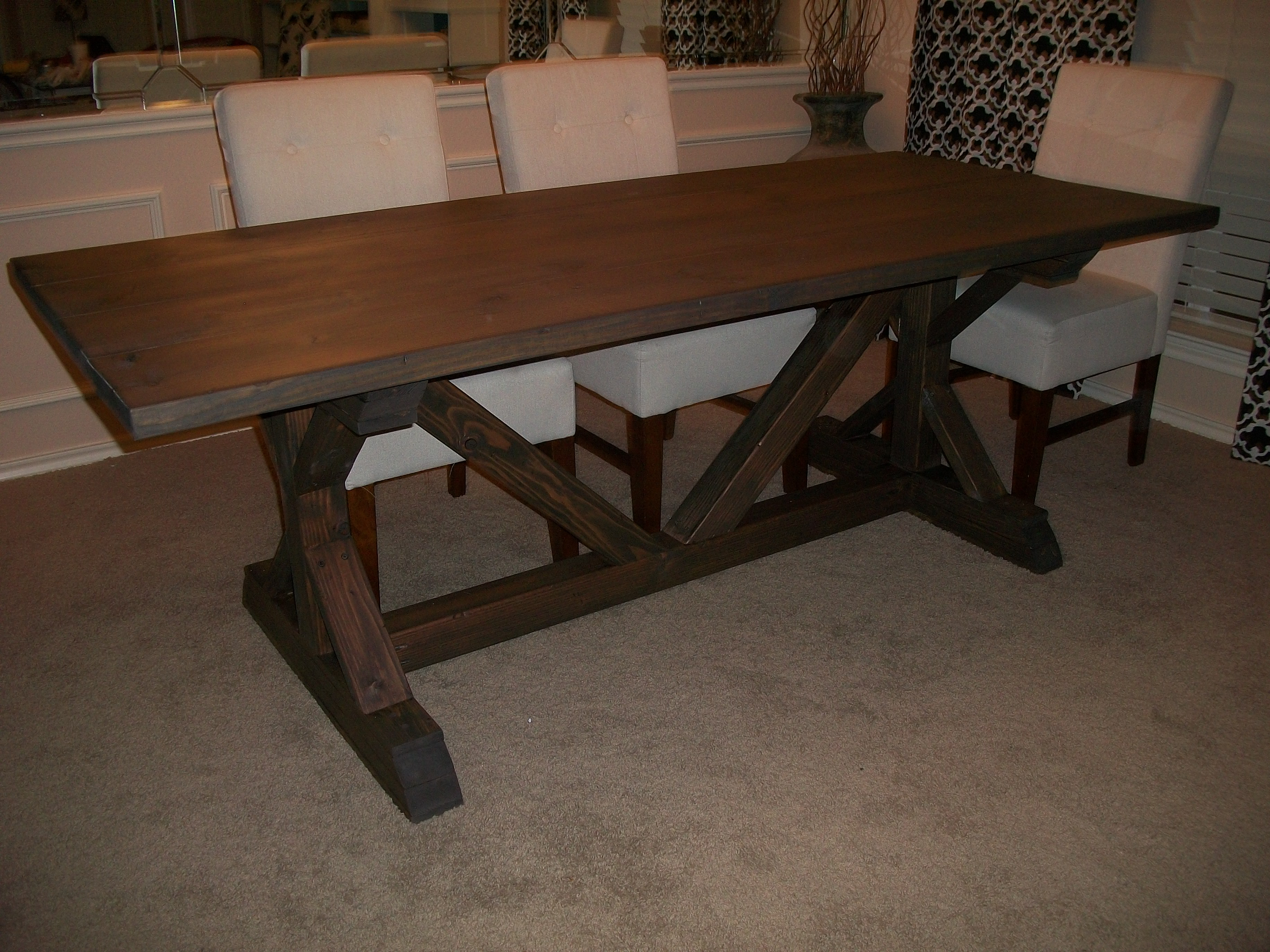 Fancy X Farmhouse Table - Modified - DIY Projects