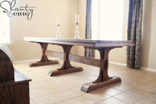 Triple Pedestal Farmhouse Table - DIY Projects