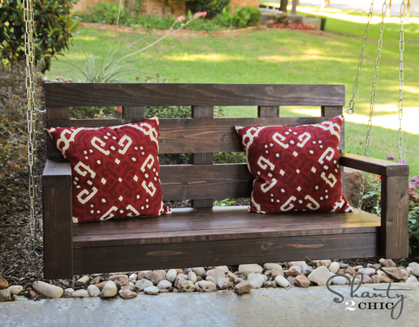 free log porch swing plans