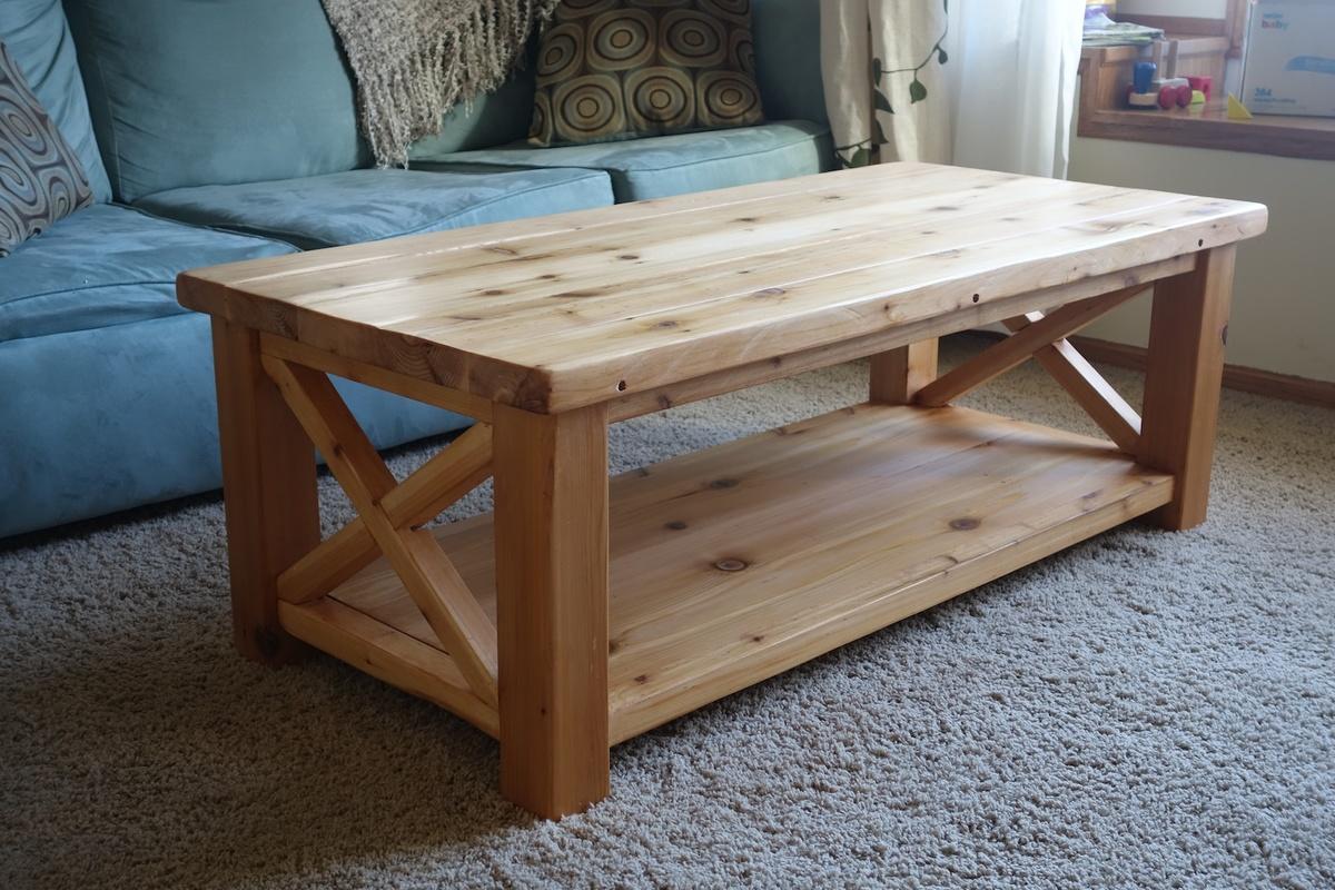 rustic x coffee table in cedar ana white