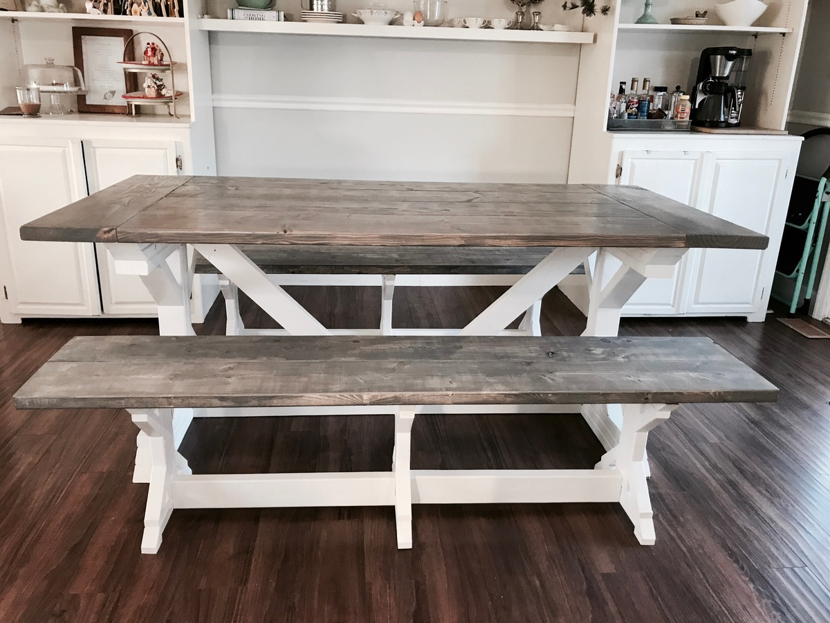 Two Tone Weathered Gray X Farmhouse Table And