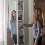 Full Length Mirror Sliding Beauty Storage Cabinet Ana White