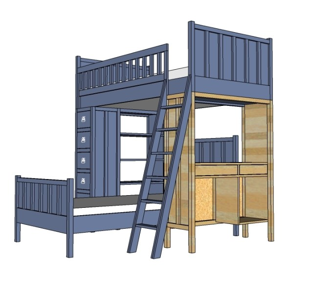 idea: Loft bed over desk .Why: If you don't have room for a wall bed ...