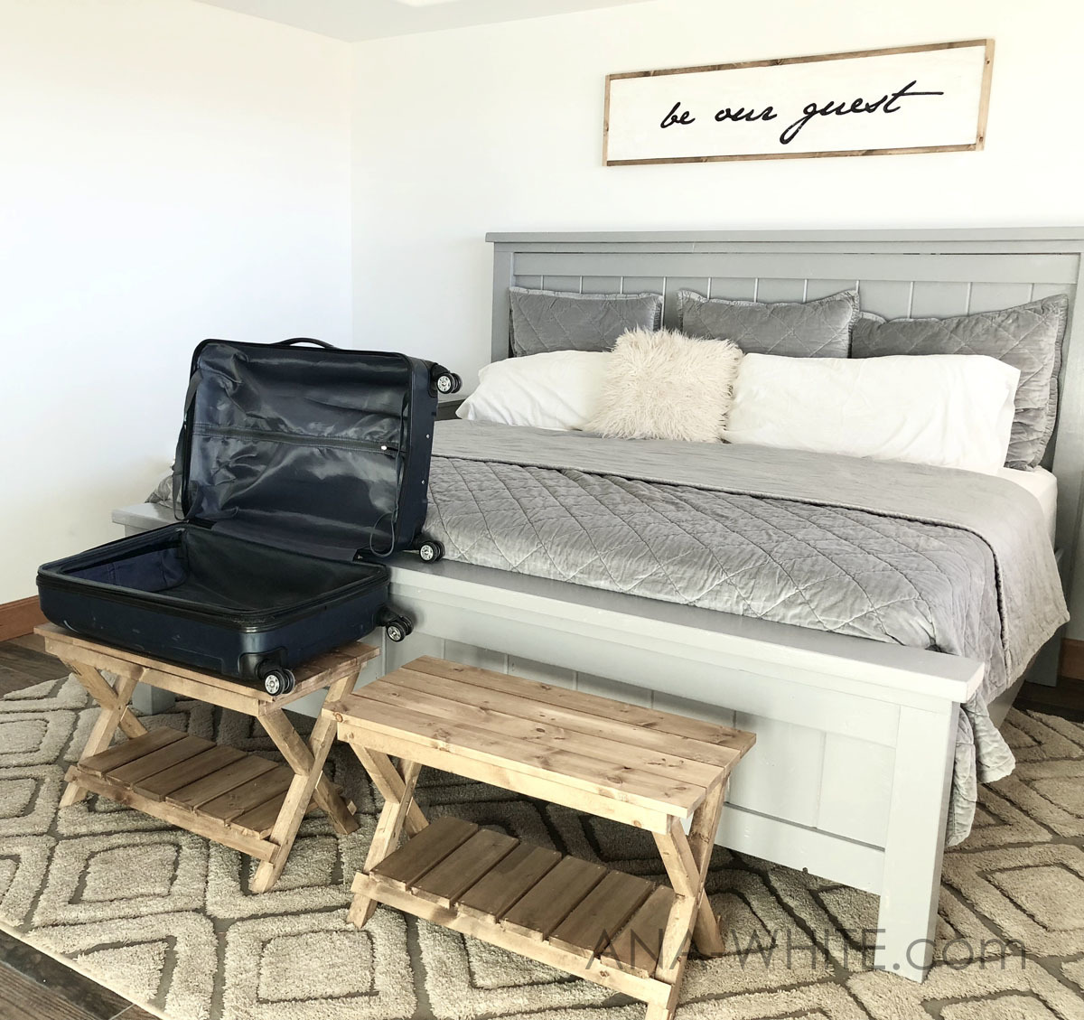 upgraded luggage rack or suitcase stand