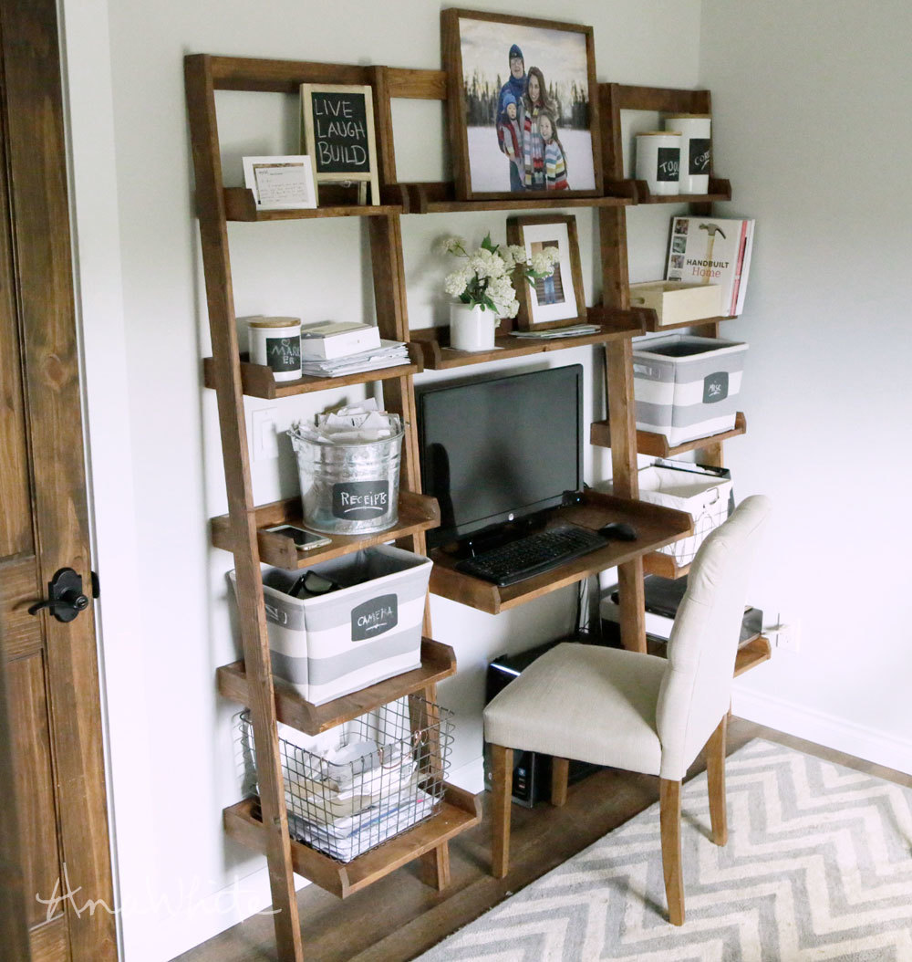 ana white | leaning wall ladder desk - diy projects