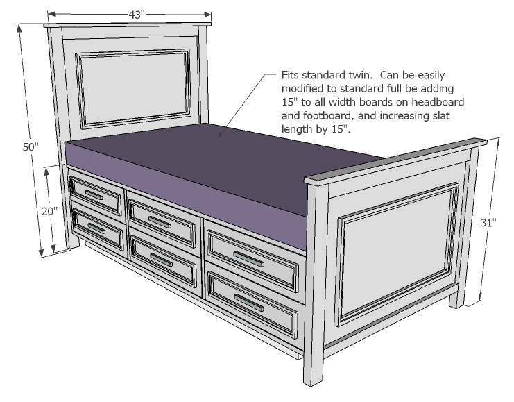 twin storage bed plans