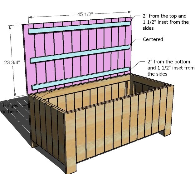 building plans storage bench