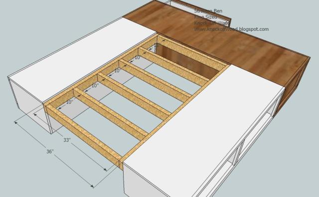 (two queen size and the end king). Lay plywood on top or wood slats
